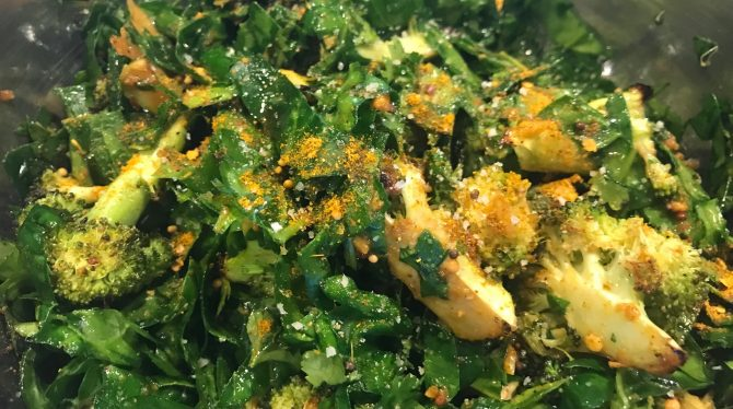 Broccoli and Spinach Salad with Vadouvan Dressing