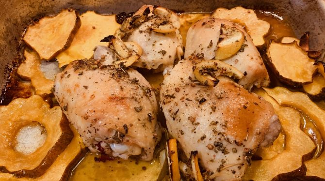 Roasted Chicken Thighs With Winter Squash